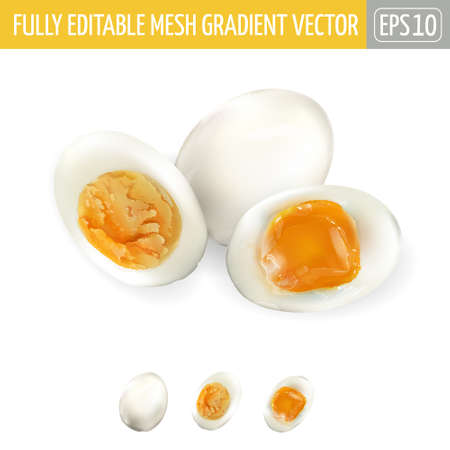 A whole egg, soft and medium boiled halves of eggs.