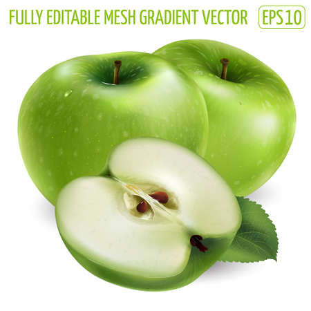 Two green apple and a slice on white background.