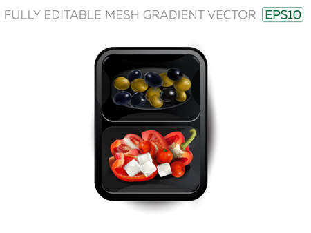 Vegetables and feta cheese in a lunchbox. Иллюстрация