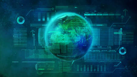 Green planet, World digital economic and trade space.