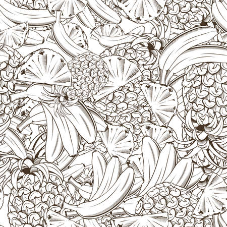 Black and white seamless pattern with pineapples and bananas in vintage style Ilustracja