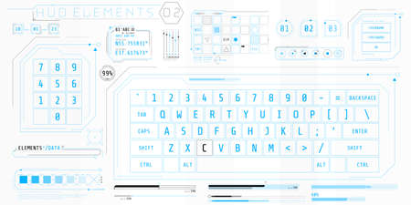 A set of HUD keyboards elements for a futuristic interface. 向量圖像