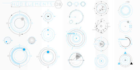 A set of HUD circular elements for a futuristic interface.