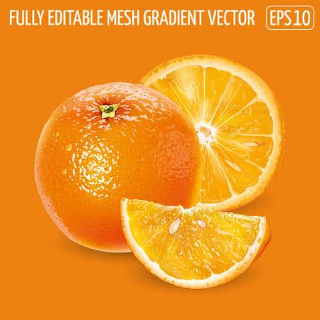 Whole orange with slices on an orange background.