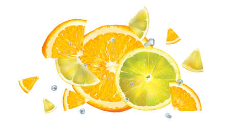 Orange and lemon slices and water droplets in flight.