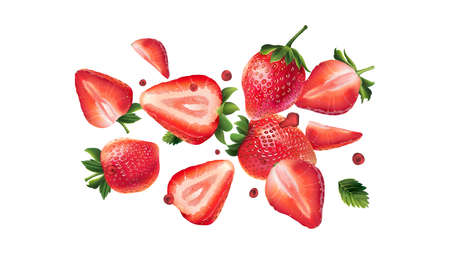 Flying fresh strawberries on a white background.