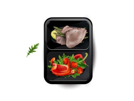 Boiled meat with vegetables and avocado in a lunchbox.