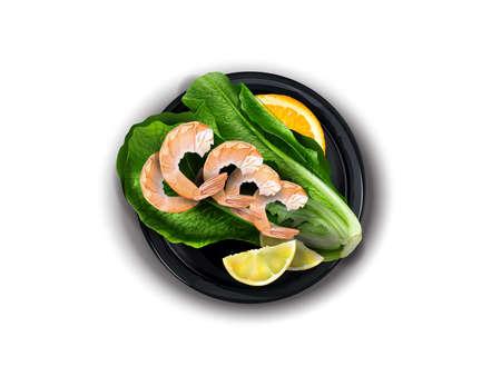 Shrimp with citrus on a black plate.