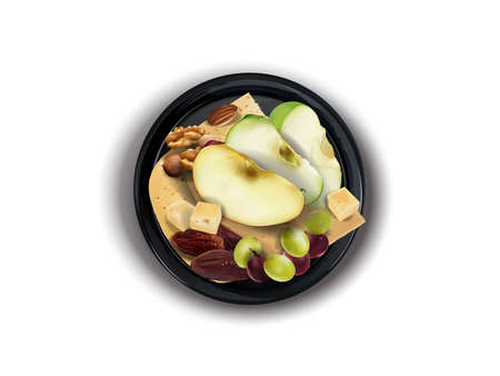 Cheese with assorted nuts and fruits on a black plate. Zdjęcie Seryjne