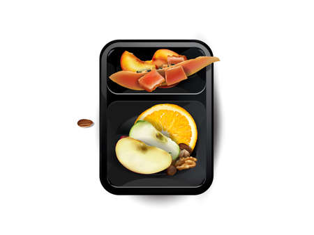 Assorted fruits and nuts in a lunchbox.