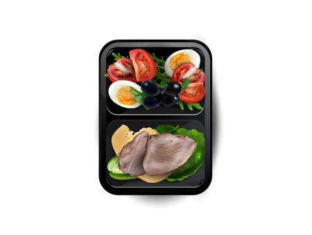 Boiled meat with egg, cheese and vegetables in a lunchbox. Zdjęcie Seryjne