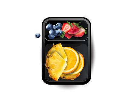 Strawberries, blueberries, orange and pineapple in a lunchbox. Zdjęcie Seryjne