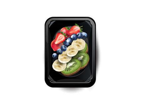 Strawberries, blueberries, banana and kiwi in a lunchbox.