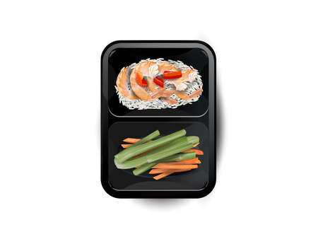 Shrimps with rice and vegetables in a lunchbox. Zdjęcie Seryjne