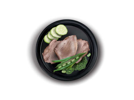 Boiled turkey meat with broccoli on a black plate.