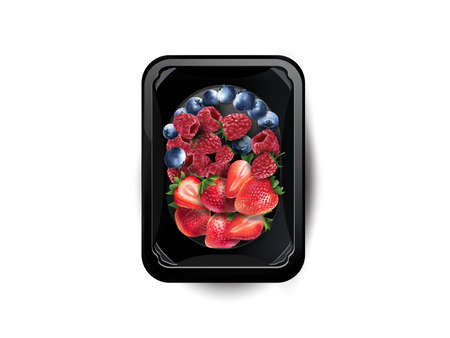 Blueberries, raspberries and strawberries in a lunchbox.