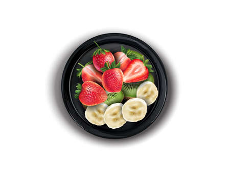 Strawberries with kiwi and banana slices on a black plate.
