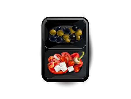 Vegetables and feta cheese in a lunchbox. Zdjęcie Seryjne