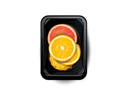 Citrus fruit and pineapple slices in a lunchbox.
