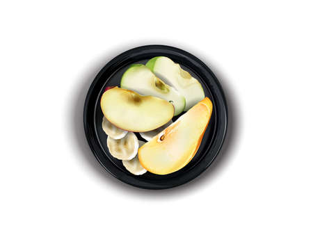 Apple, pear and banana slices on a black plate.