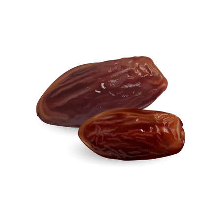 Two dried dates on a white background.