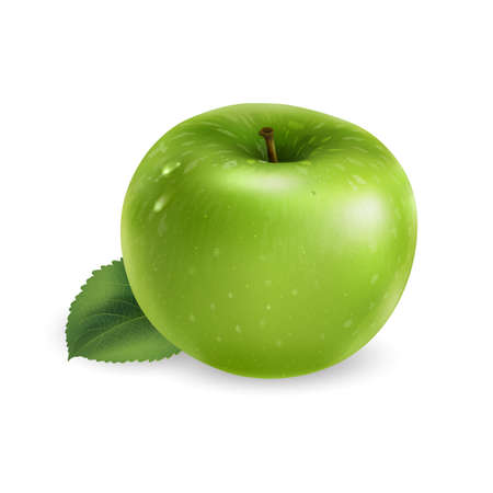 Green apple with a leaf on white background.