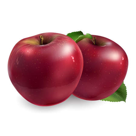 Two ripe red apples on a white background.