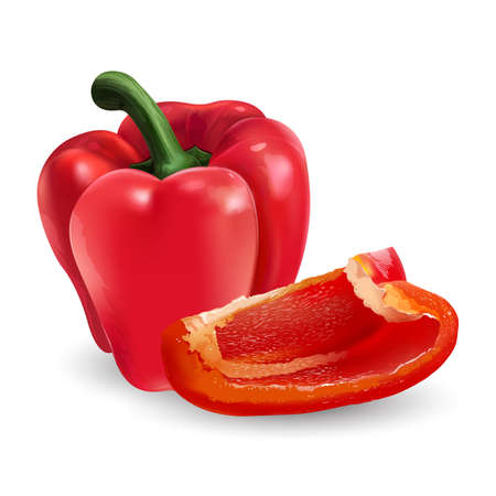 Whole red bell pepper with a slice on white background. Zdjęcie Seryjne