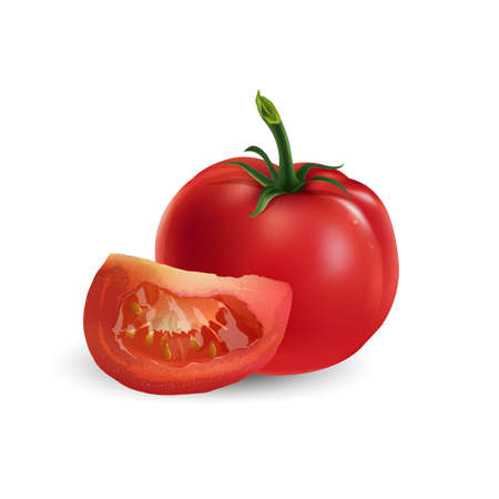 Whole red tomato with a slice on a white background.