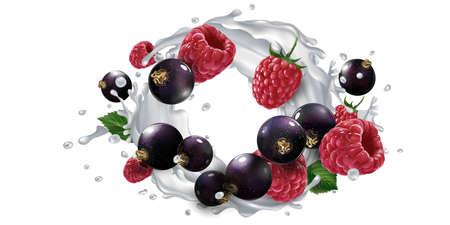 Black currants and raspberries and a splash of milk or yogurt.