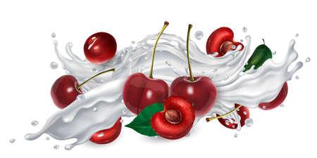 Cherries in a yogurt or milk splash. Zdjęcie Seryjne