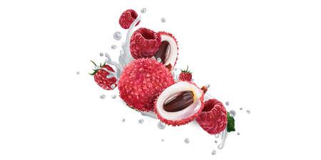 Lychee and raspberries in splashes of yogurt or milk. Zdjęcie Seryjne