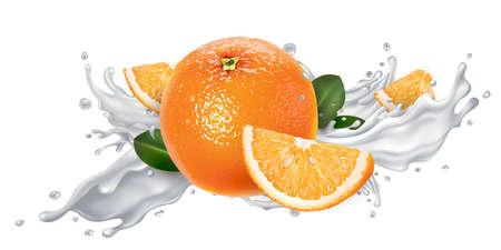 Whole and sliced oranges in a yogurt splash.