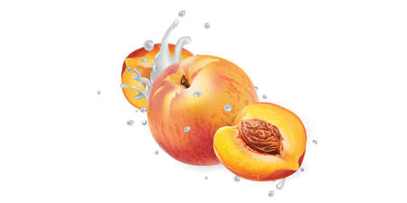 Peaches in splashes of milk or yogurt. Zdjęcie Seryjne
