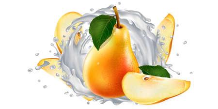 Pears and a splash of milk or yogurt.