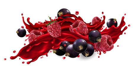 Splash of fruit juice with raspberry and black currant berries. Zdjęcie Seryjne