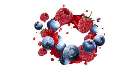 Blueberries and raspberries in a splash of red fruit juice.