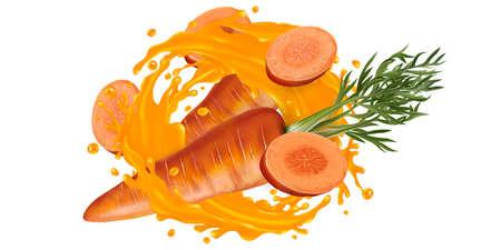 Whole and sliced carrot in a vegetable juice splash. Zdjęcie Seryjne