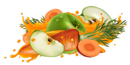 Green apples and carrots in a vegetable juice splash.