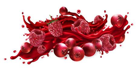 Splash of fruit juice with cranberries and raspberries.