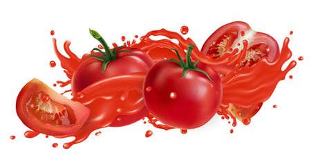 Fresh tomatoes and a splash of vegetable juice. Zdjęcie Seryjne