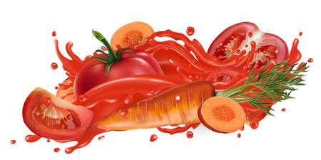 Tomatoes and carrots in a vegetable juice splash. Zdjęcie Seryjne