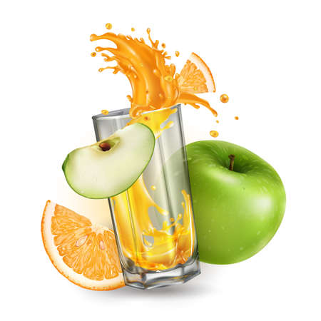 Splash of fruit juice in a glass, green apple and orange. Zdjęcie Seryjne