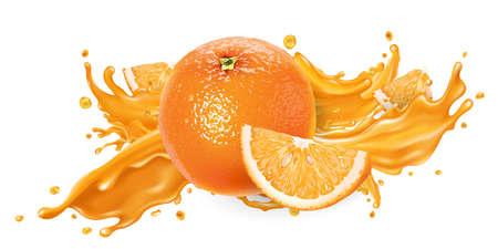 Splash of fruit juice and fresh orange.