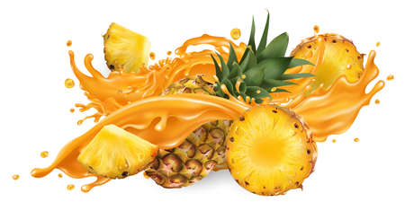 Splash of fruit juice and fresh pineapple.