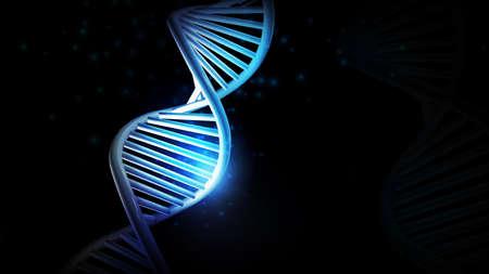 Blue glow of DNA model on a black background, 3D render.