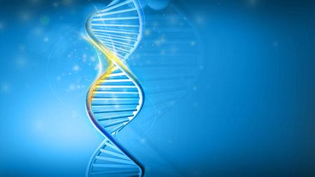 DNA helix model on a blue background, 3D render.