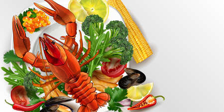 Lobster, mussels and red caviar with vegetables.