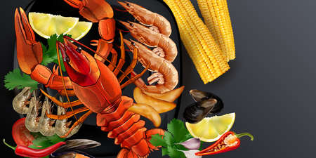 Seafood dish with lobster, shrimps and corn cobs. Banque d'images