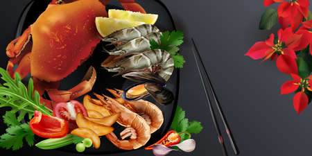 Japanese style seafood dish with crab and king prawns.